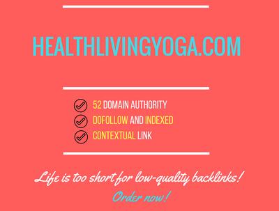 Add a guest post on healthlivingyoga.com, DA 52