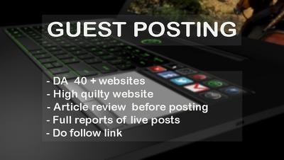[Special Offer] 3 Guest Post on DA40+ UK sites High PR