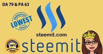 Guest Post in steemit.com DA 79 and PA 63