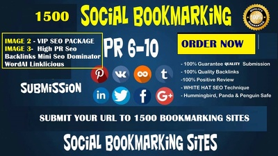 Social bookmark your link to 1500+ sites & SEO Package Backlinks