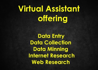 Do any kind of Data entry and data research for one hour.
