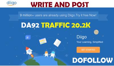 Write and Post on Diigo.com - DA92 Traffic 20.2K Dofollow blog