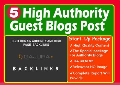 Publish 5 unique guest blog posts on HIGH DA 90+ websites