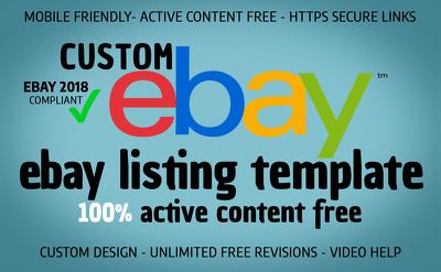 design a bespoke custom listing auction template compliant 2018