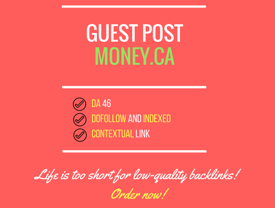 Publish a guest post at Money - Money.ca (Dofollow)