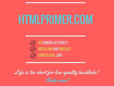 Add a guest post on htmlprimer.com, DA 43