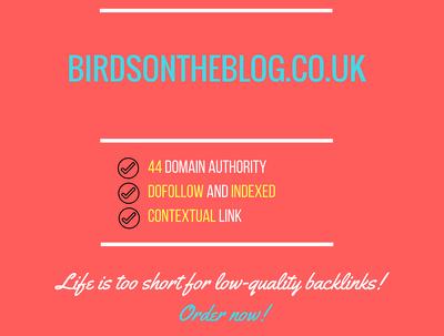 Add a guest post on birdsontheblog.co.uk, DA 44
