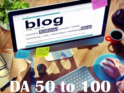 Place 10 unique guest blog posts on HIGH DA 30 -94 websites