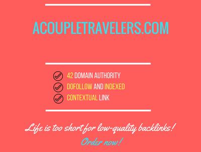 Add a guest post on acoupletravelers.com, DA 42