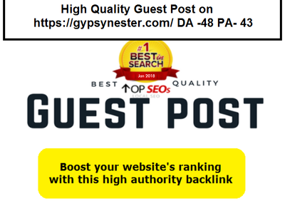 High Quality Guest Post on http://gypsynester.com/ DA -48 PA- 43