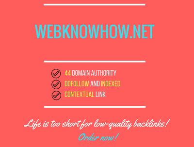 Add a guest post on webknowhow.net, DA 44