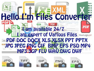 Modify,Edit,Convert Pdf,Excel,Docx,Ppt,Jpg,Gif Various Files