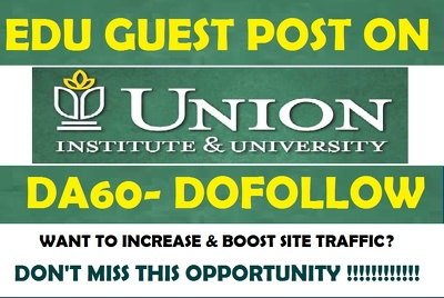 Guest Post on Union Institute & University - myunion.edu - DA 60