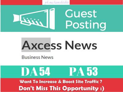 Write & Publish Guest Post on Axcessnews.com - DA 54