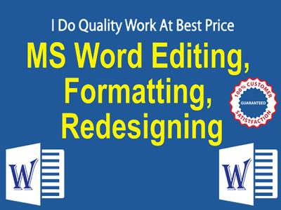 professionally create, editting, formatting, design MS documents