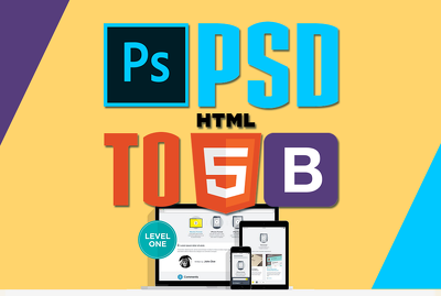 convert your 3 page PSD/Design to responsive bootstrap HTML