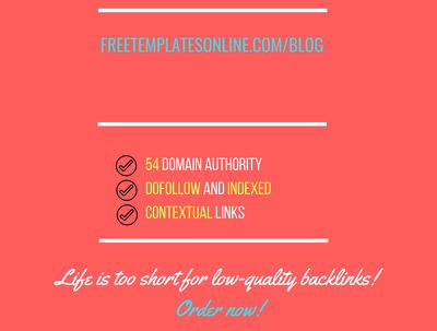 Add a guest post on freetemplatesonline.com/blog, DA 54