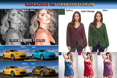 Do 5 color changing color replacing, color matching in Photoshop