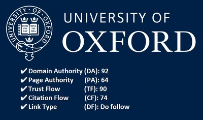 Publish post on Oxford University London -  DA 92, PA 64, TF 76