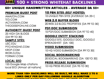 Bumber Mega SEO Pack | 100+ Handmade whitehat links | Avg DA 50+
