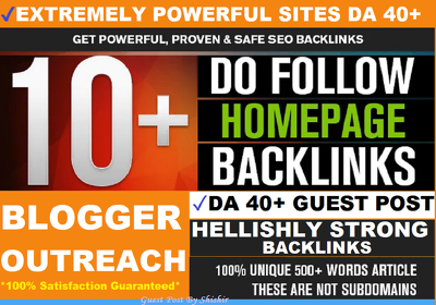 10 Guest Posts on EXTREMELY Powerful Sites DA 40+ W/Social Share