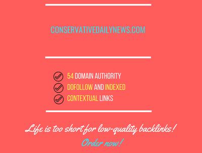 Add a guest post on  conservativedailynews.com, DA 54