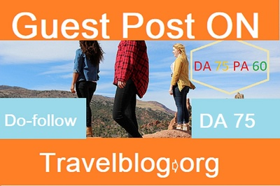 Write a Guest post on travelblog.org DA76 Dofollow backlink
