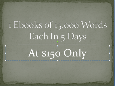 Write 1 ebook of 15,000 words in 5 days