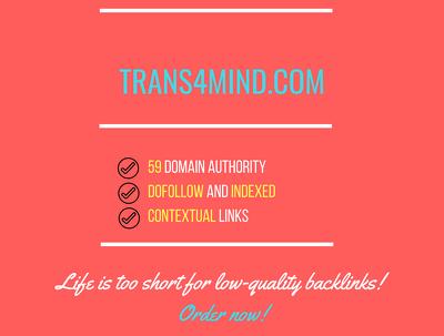 add a guest post on trans4mind.com, DA 59