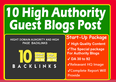 Publish 10 X High Authority Guest Post DA 50+ [Limited Offer]