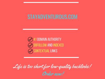 add a guest post on stayadventurous.com, DA 41