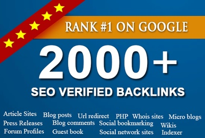 Deliver 2000 Verified SEO Backlinks for Google 1st Page Ranking