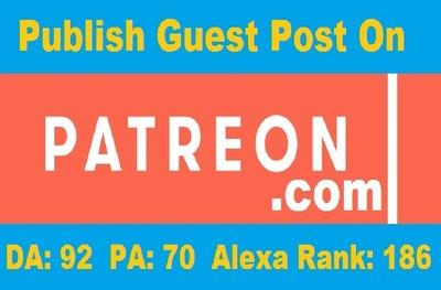 Publish Permanent Guest Post on Patreon - Patreon.com DA 92