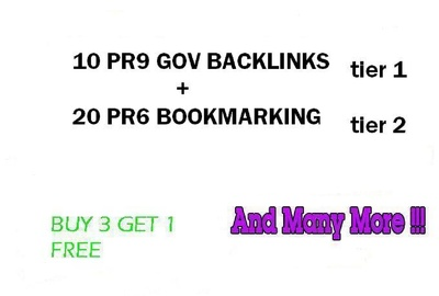 2 tier package 10PR9 Gov Domains with 20 PR6 Social Bookmarks