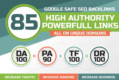 Build 85 Unique Domain SEO Backlinks On Tf100 Da100 Sites