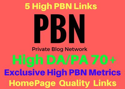 5 Manual High 70 Plus DA and PA Homepage Pbn Links