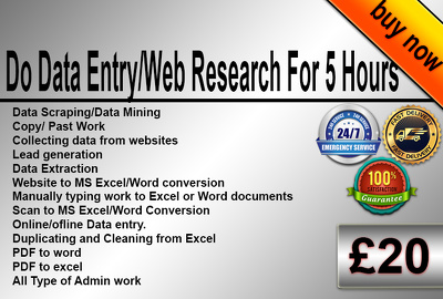 Do Data Entry/Web Research For 5 Hours