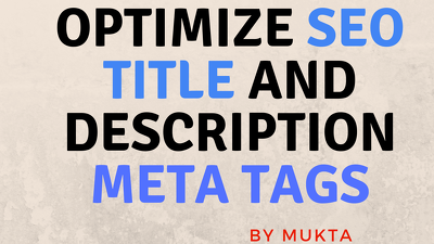 Optimize SEO Title And Description Meta Tags