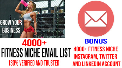 give you 4000+Fitness niche verified email addresses