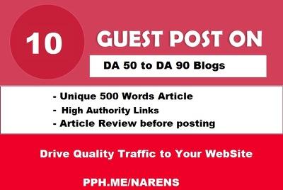 10 Guest Posts Links on REAL DA30-80 Websites -NO PBN - Dofollow