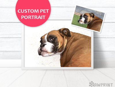 Stunning pet portrait in the detailed watercolour style shown