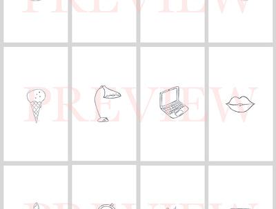 Hand draw 5 custom Instagram highlight icons