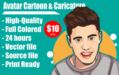 Draw awesome Cartoon Caricature Avatar of you from photo