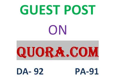 Publish a guest post on Quora.com