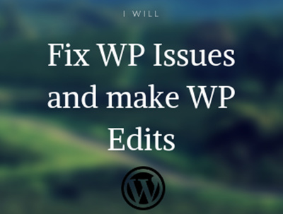 fix Wordpress Issues and Make Wordpress Edits