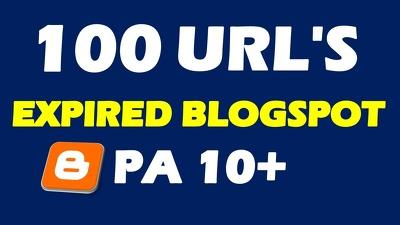 Provide 100 Expired Blogspot PA 10+