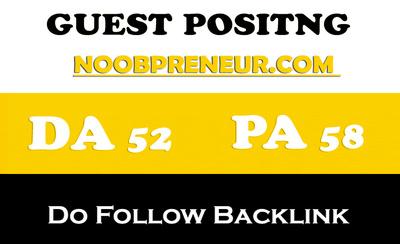 Place a Dofollow Guest Post on Noobpreneur - DA50, PA49
