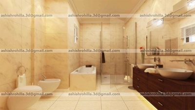 Do 3D Interior Rendering of Bathroom