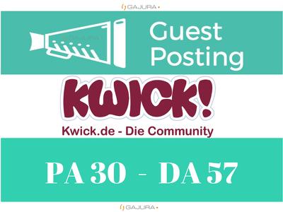 Publish German Community Guest Post on Kwick - Kwick.de