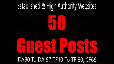 Guest Post 50 High Authority & Established Websites, DA30-95